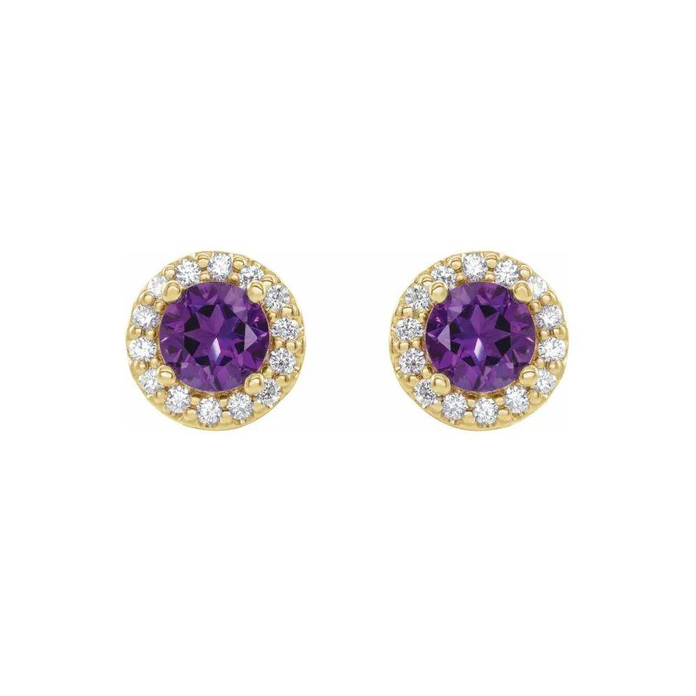 14K金‧璀璨鑽石鑲紫水晶耳環